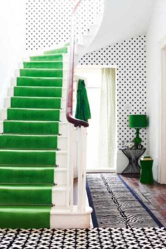 bright green with polka dots