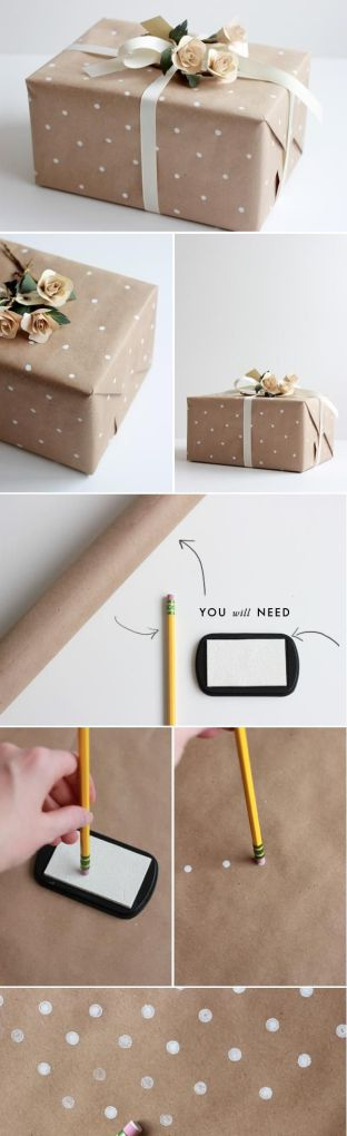 DIY: How to make polka dot wrapping paper.